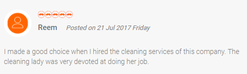 Customer review 2 - house cleaning and maid service in Dubai and Abu Dhabi